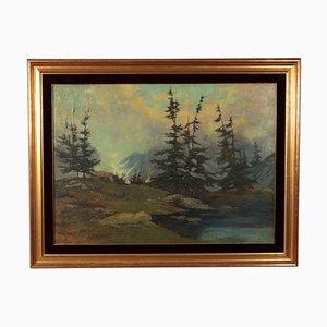 B.Roncaglia, Alpine Landscape, 1968, Öl auf Sperrholz, Gerahmt