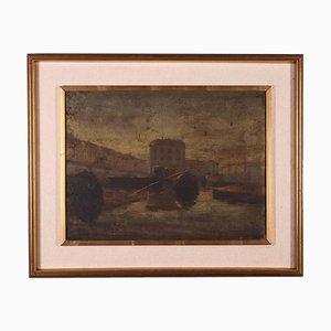 Blick auf das Mailänder Dock, Öl auf Leinwand, gerahmt