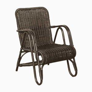 Rattan Armchair in Black by Erich Dieckmann