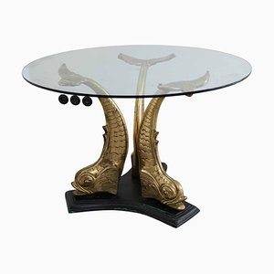 Brass and Glass Dining Table, Italy, 1960s