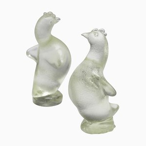 Hen Sculptures in Corroso Glass by Archimede Seguso, 1930s, Set of 2