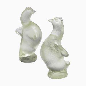 Hen Skulpturen aus Corroso Glas von Archimede Seguso, 1930er, 2er Set