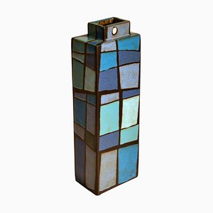 Rechteckige Studio Keramik Vase in Blautönen