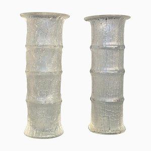 Glas Vasen in Bambus Optik von Timo Sarpaneva für Iittala, 2er Set
