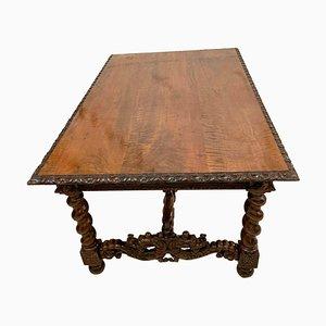 Italienischer Geschnitzter Nussholz Tisch oder Esstisch, 19. Jh