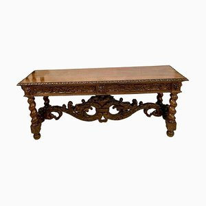 19th Century Italian Carved Solid Walnut Serving Table