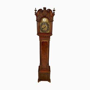 Geschnitzte Großmutter Uhr aus Mahagoni im Stil von Chippendale
