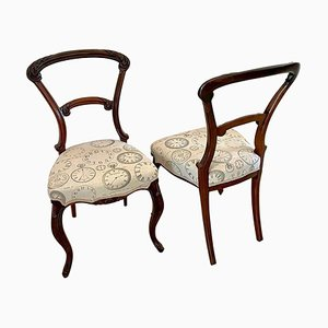 Victorian Carved Rosewood Side Chairs, Set of 2