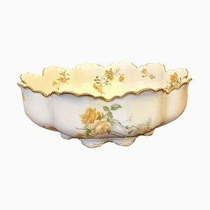 Große französische handbemalte Obstschale aus Porzellan, 19. Jh