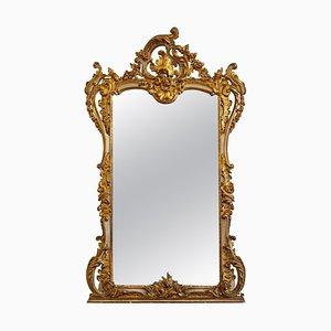 Großer hoher Spiegel mit vergoldetem & lackiertem geschnitztem Holzrahmen