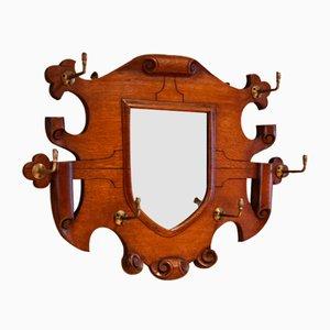 Oak Shield Mirrored Coat Rack