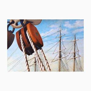 Patrick Chevailler, La poulie et trois mâts, 2020, Oil on Canvas