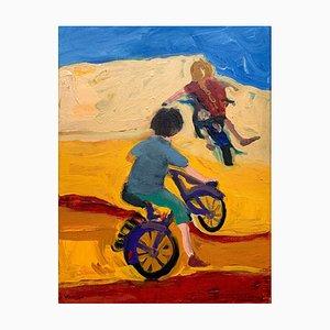 Monika Rossa, Fahrräder, 2021, Öl auf Leinwand