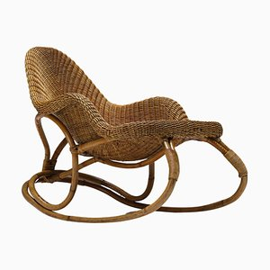 Art Nouveau Wicker Rocking Chair by Victor Horta, France, 1900s
