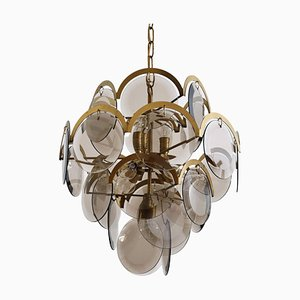 Italian Brass and Smoked Glass Chandelier by Vistosi, 1960s