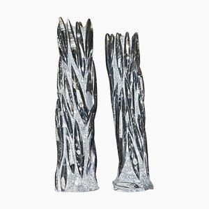 Große Fossilized Statuen aus Orthoceras Marmor, 2er Set