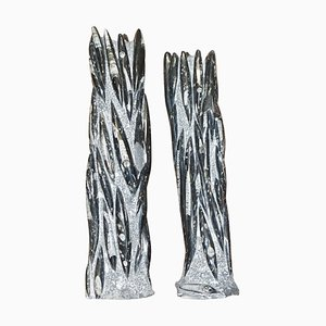 Large Fossilized Orthoceras Marble Finish Statues, Set of 2