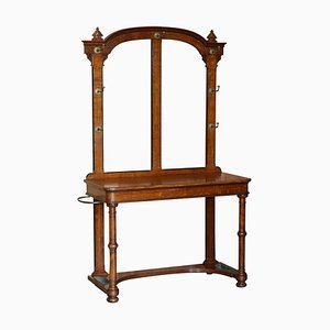 William IV English Oak & Bronze Hall Stand Console Table, 1830s