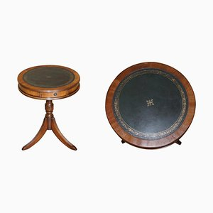 Vintage Light Hardwood & Green Leather Side Table
