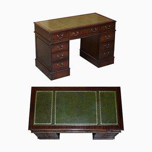 Vintage Green Leather Hardwood Twin Pedestal Desk