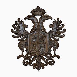 Großes handgeschnitztes Holz Wappen Wappen Adler