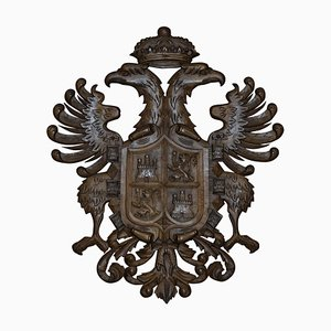 Large Hand Carved Wood Crest Coat of Arms Eagles