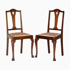 Antike englische handgeschnitzte Löwen Stühle in Pfotenfüßen aus Hartholz, 2er Set