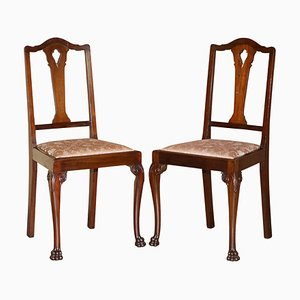 Antique Hardwood English Hand Carved Lion Hairy Paw Feet Chairs, Set of 2