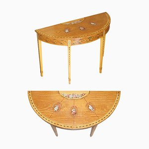 Vintage Walnut & Satinwood Demi Lune Console Table