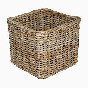 Großer Vintage Wäschekorb aus Rattan oder Wäschekorb
