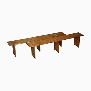 Vintage Pitch Pine Benches, Set of 2