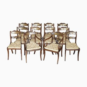 Hartholz & Messing Esszimmerstühle von John Gee, 1779-1824, 12er Set
