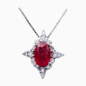 Rubin, Diamant & 18 Karat Weißgold Anhänger Halskette