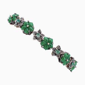 Green Agate Flower, Emerald, Diamond, 9 Karat Rose Gold and Silver Bracelet