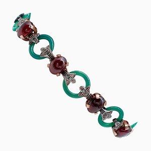 Green Agate, Garnet, Diamond, 9 Karat Rose Gold and Silver Bracelet