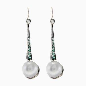 Große Ohrringe mit Perlen, Smaragd, Diamanten, Silber & Gold, 2er Set