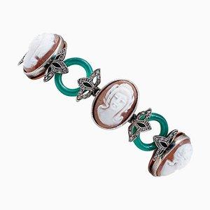 Diamond, Green Agate, 9 Karat Rose Gold and Silver Cameo Bracelet