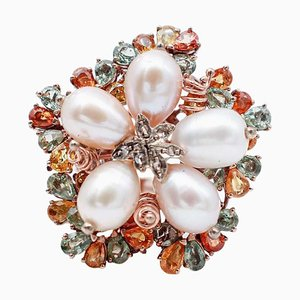 Mehrfarbiger Saphir, Diamant, Perle, 9 Karat Roségold und Silber Ring