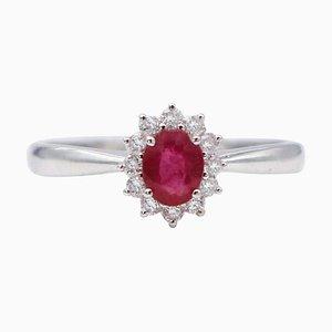 Ovaler Ring aus 18 Karat Weißgold mit Rubin, Weißem Diamant