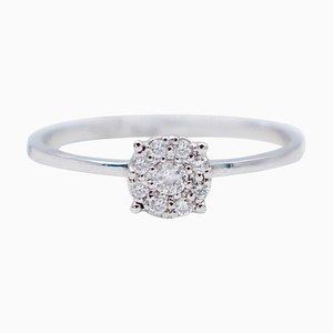 Weißer Diamant & 18 Karat Weißgold Magic Ring