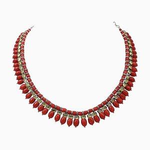 Halskette aus Koralle, Diamanten und 9 Karat Roségold & Silber