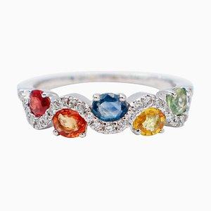 Mehrfarbiger moderner Saphir, Diamanten & 18 Karat Weißgold Ring