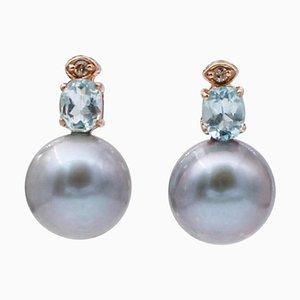 Graue Perlen, Diamanten, Aquamarin & 14 Karat Roségold Perlenohrringe