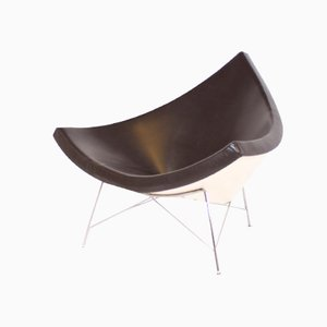 Brown Leather Coconut Chair by George Nelson for Vitra