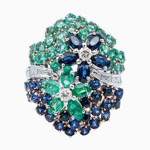 Diamonds, Emeralds, Blue Sapphires & 14 Karat White Gold Cocktail Ring