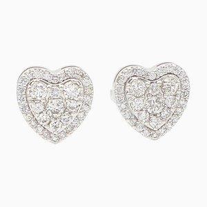 Herzförmige Ohrstecker aus 18 Karat Weißgold mit Weißen Diamanten