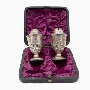 Englisches Retro Salz und Pfeffer Set aus Silber, 1840er