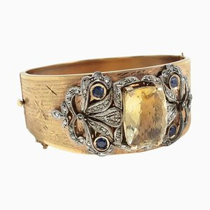 Topaz, Sapphire, Diamond, Gold and Silver Cuff Bracelet