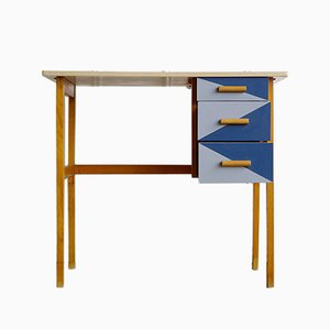 Vintage Children's Desk with 3 Blue Drawers