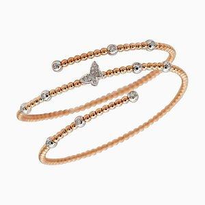 Diamonds, 18 Karat Rose and White Gold Cuff Modern Bracelet